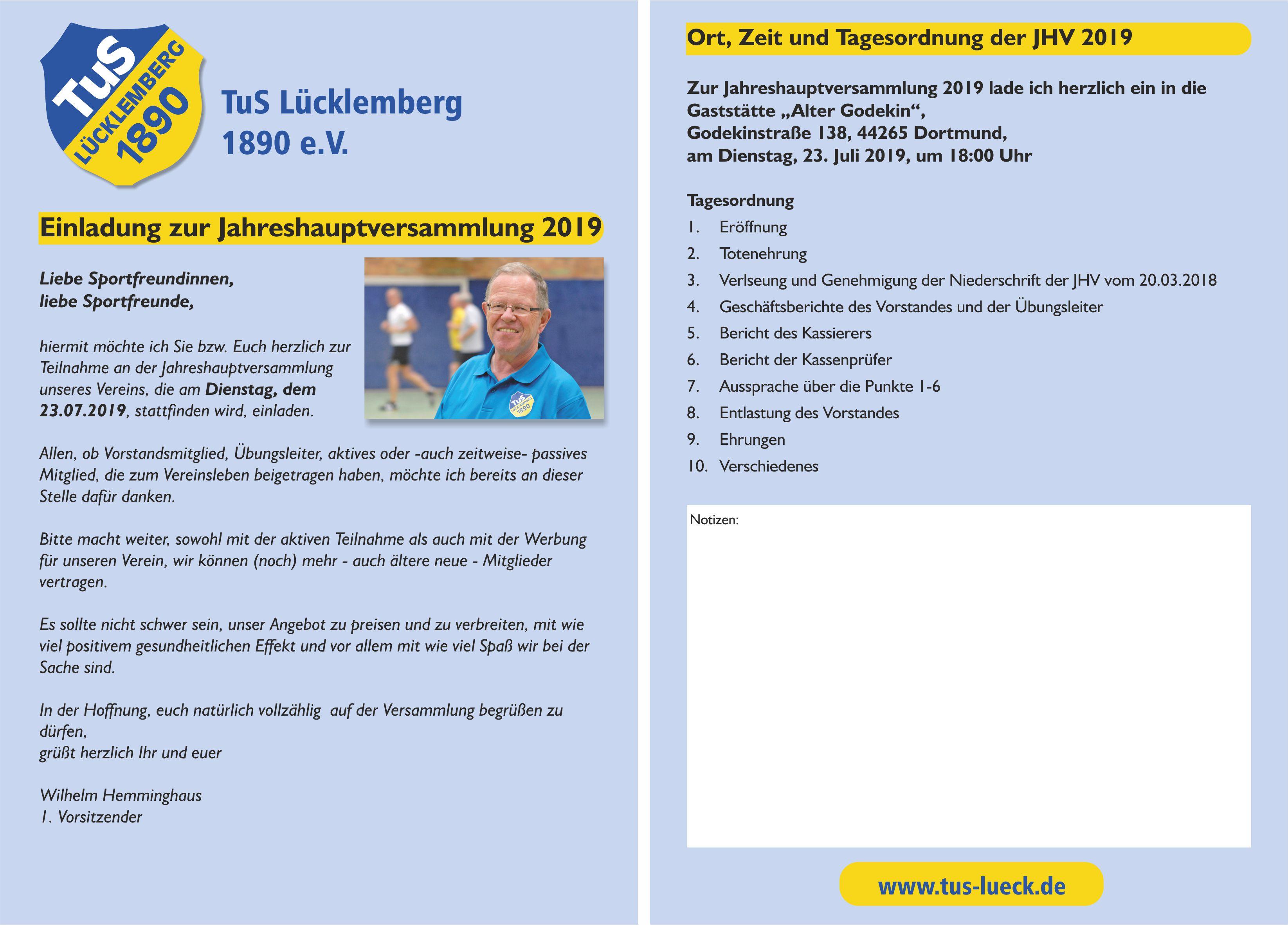 Einladung zur JHV 2019